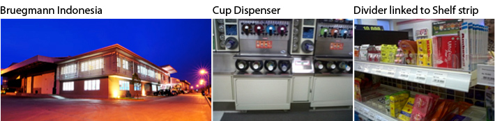 Bruegmann Indonesia, Cup Dispenser, Divider linked to Shelf strip