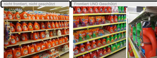 frontierte, geschützte Produkte im Regal