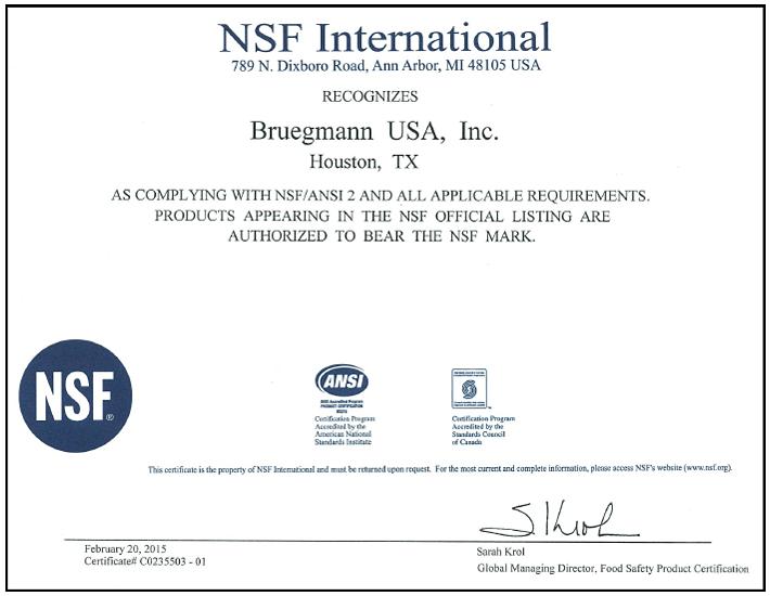 Bruegmann gains NSF Approval